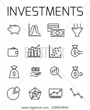 Investments Related Vector Icon Set. Well-crafted Sign In Thin Line Style With Editable Stroke. Vect