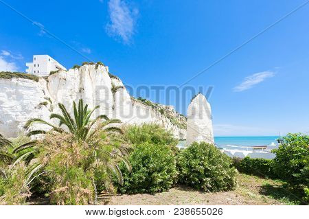 Vieste, Italy, Europe - Out For A Walk In The Park At The Chalk Rocks Of Vieste