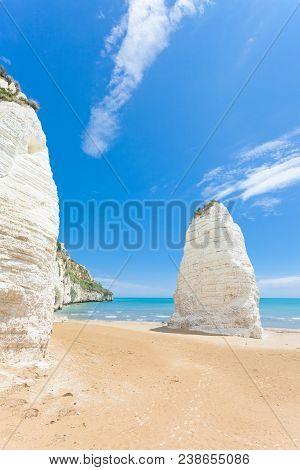 Vieste, Italy, Europe - Huge Chalk Cliffs At The Beach Of Vieste