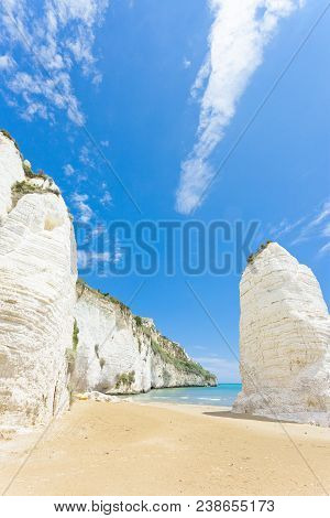 Vieste, Italy, Europe - Giant Chalk Cliffs At The Beach Of Vieste