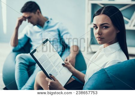 Depressed Man Consults Psychologist. Psychotherapy Concept. Consulting At Psychologist Reception.