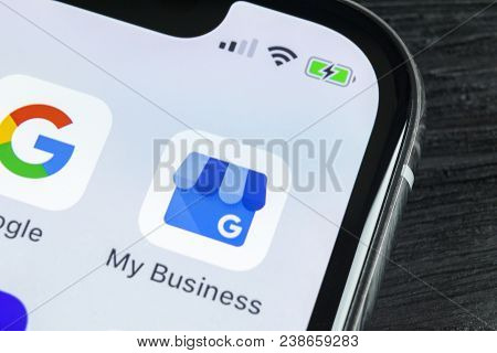 Sankt-petersburg, Russia, April 27, 2018: Google My Business Application Icon On Apple Iphone X Scre