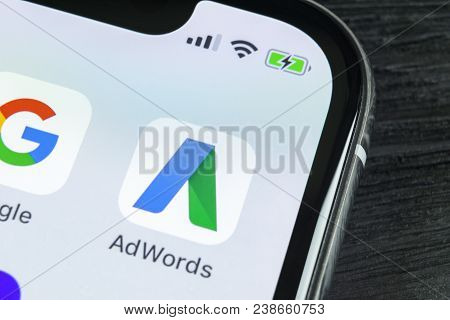Sankt-petersburg, Russia, April 27, 2018: Google Adwords Application Icon On Apple Iphone X Screen C