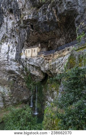 Chapel Dedicated To The Santina In Holy Cave Of Covadonga Asturias, Spain