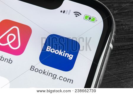 Sankt-petersburg, Russia, April 27, 2018: Booking.com Application Icon On Apple Iphone X Screen Clos