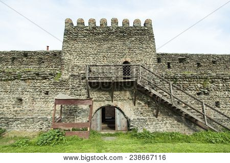 The Wall With Gates Of Kvareli Town Fortress, The Only One Medieval Fortress That Has A Stadium Buil