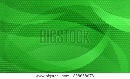 Abstract Background Of Curved Lines, Curves And Halftone Dots In Green Colors