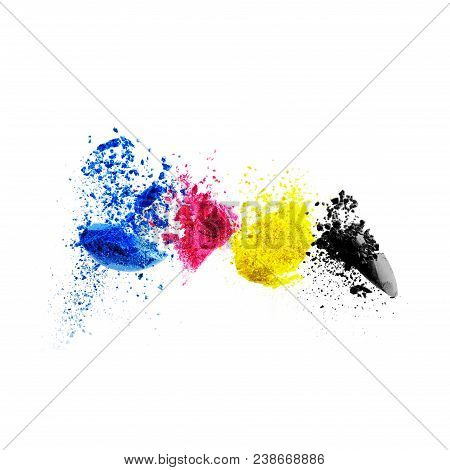 Cmyk Colour Toner For Printer Cyan Magenta Yellow Black. Color Splash