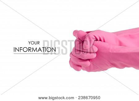 Hand in a rubber glove for cleaning cleanliness pattern on a white background isolation poster