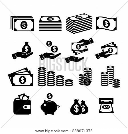 Financial Icon Set. Money Icons. Money Stack, Coin Stack, Piggy Bank, Wallet With Money, Cash Paymen