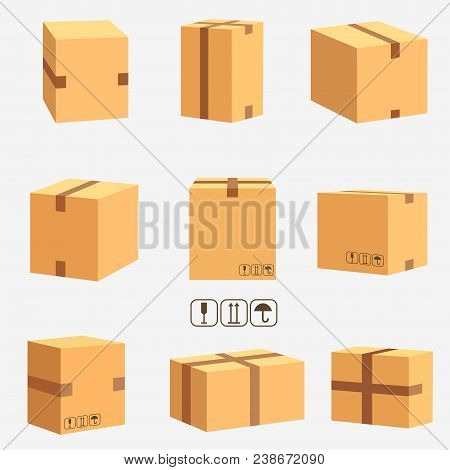Cardboard Boxes, Stacked Sealed Goods. Parcel Packaging And Delivery, Carton Box Set. Vector