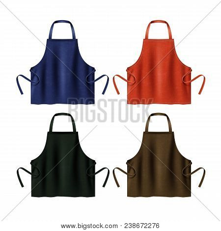 Vector Illustration Of Black, Blue, Red And Brown Kitchen Aprons. Template Of Protective Uniforms, I