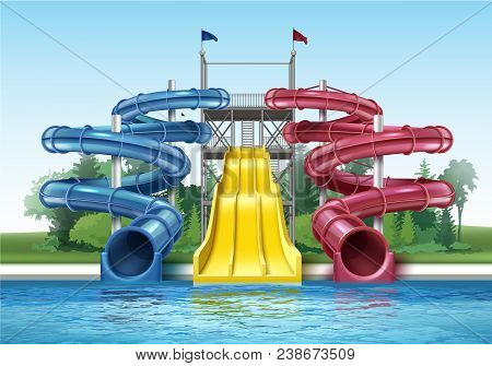 Vector Illustration Of Colored Plastic Water Slides With Pool In Outdoor Aqua Park. Isolated, Front