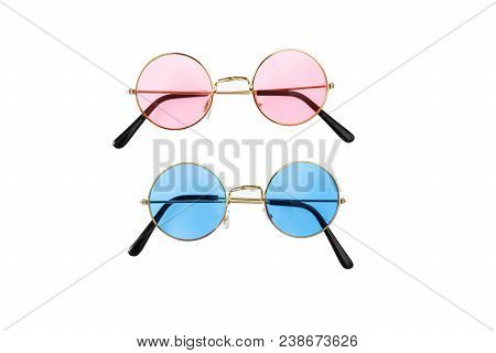 Two Pairs Of Sunglasses, Blue And Pink, Isolated On White Background, Top View
