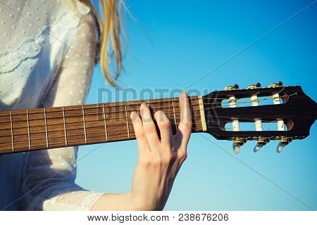 Entertainment, Guitar With Fingers Strumming Strings. Entertainment Hand Play On String Instrument O
