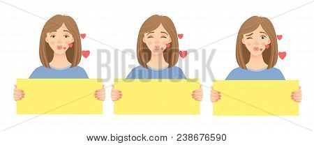 Woman Holding Blank Poster. Blank Message Vector Illustration Set. Hands Holding Blank Paper
