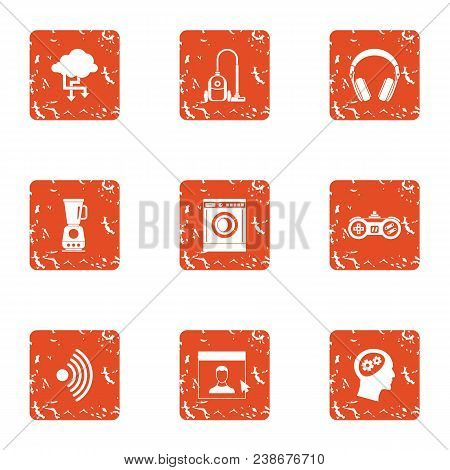 Home Lifestyle Icons Set. Grunge Set Of 9 Wireless Lifestyle Vector Icons For Web Isolated On White