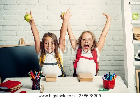 Back To School And Home Schooling. Happy School Kids At Lesson In September 1. Friendship Of Small S