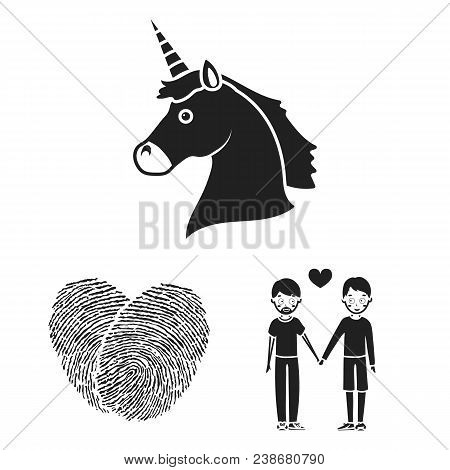 Gay And Lesbian Black Icons In Set Collection For Design.sexual Minority And Attributes Vector Symbo