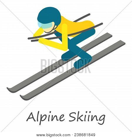 Alpine Skiing Icon. Isometric Of Alpine Skiing Vector Icon For Web Design Isolated On White Backgrou