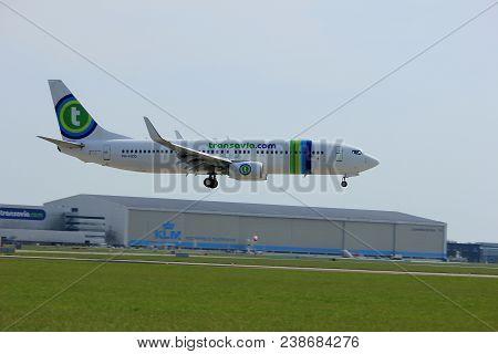 Amsterdam, The Netherlands, April 7th, 2018: Ph-hzg Transavia Boeing 737-800 Approaching Runway 09-2
