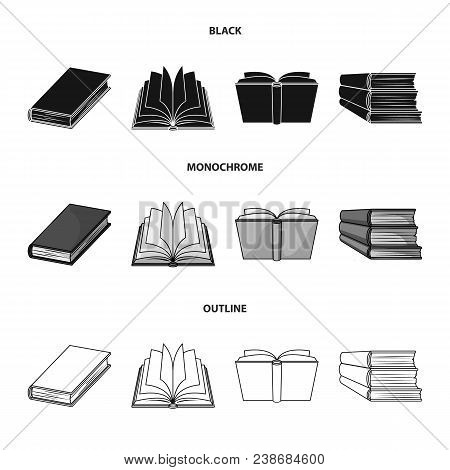 Various Kinds Of Books. Books Set Collection Icons In Black, Monochrome, Outline Style Vector Symbol