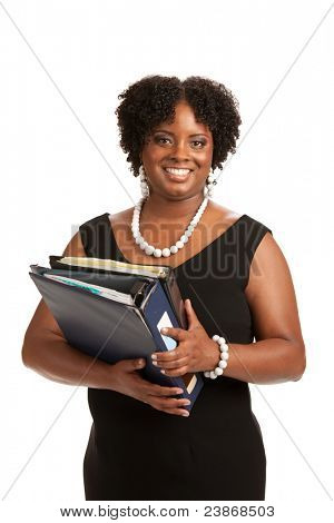 Cheerful Plus Size Businesswoman Holding Binders Standing Isolated on White Background