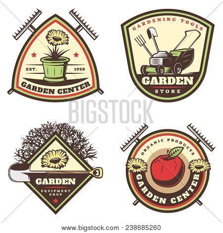 Vintage Colored Gardening Emblems Set With Flowers Pot Rake Lawm Mower Shovel Apple Tree Pitchfork I