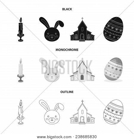 Church, Candle, Easter Bunny And Painted Egg.easter Set Collection Icons In Black, Monochrome, Outli