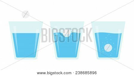 Effervescent Pill Dissolve In A Glass Of Water. Flat Vector Illustration Of Fizzy Tablet