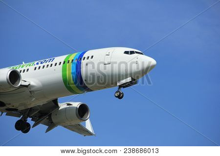 Amsterdam The Netherlands - April, 19th 2018: Ph-hzx Transavia Boeing 737-800 On Final Approach To S