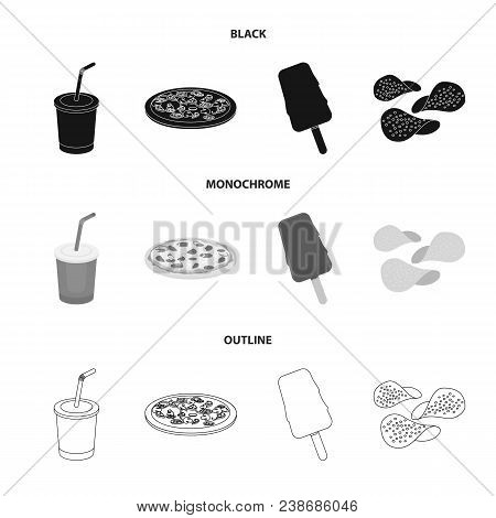 Cola, Pizza, Ice Cream, Chips.fast Food Set Collection Icons In Black, Monochrome, Outline Style Vec