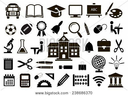 Set Of School Icons On White Background. Vector Illustration.