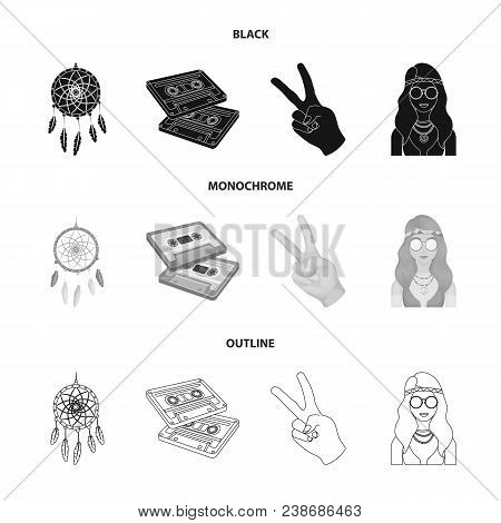 Amulet, Hippie Girl, Freedom Sign, Old Cassette.hippy Set Collection Icons In Black, Monochrome, Out