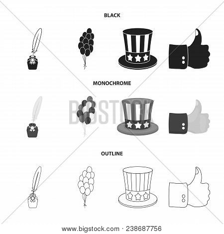 Balloons, Inkwell With A Pen, Uncle Sam Hat. The Patriot Day Set Collection Icons In Black, Monochro