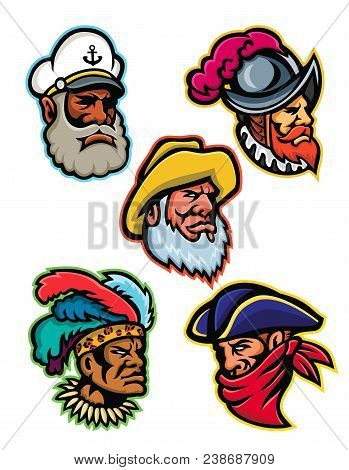 Mascot icon illustration set of heads of a conquistador or explorer, sea captain or skipper, old fisherman, Zulu warrior and a highwayman or robber viewed from  on isolated background in retro style. poster