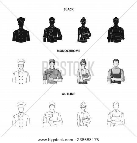 Cook, Painter, Teacher, Locksmith Mechanic.profession Set Collection Icons In Black, Monochrome, Out