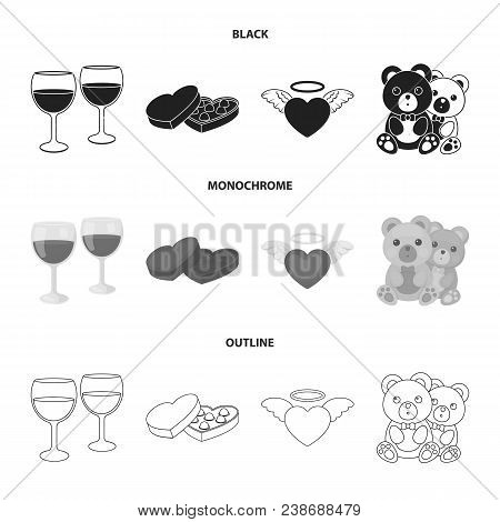 Glasses With Wine, Chocolate Hearts, Bears, Valentine.romantik Set Collection Icons In Black, Monoch