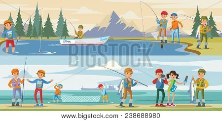 Outdoor Activity Horizontal Banners With People Fishing On Lake And Reporters Interview Fisherman Ca