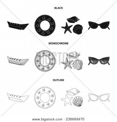 Water Attraction, Seashells, Goggles.summer Vacation Set Collection Icons In Black, Monochrome, Outl