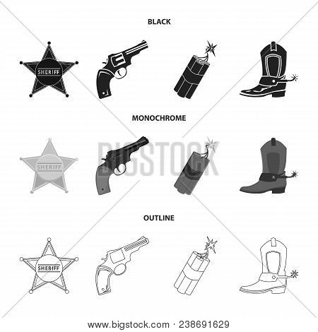 Star Sheriff, Colt, Dynamite, Cowboy Boot. Wild West Set Collection Icons In Black, Monochrome, Outl