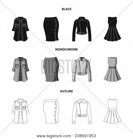 Women Clothing Black, Monochrome, Outline Icons In Set Collection For Design.clothing Varieties And