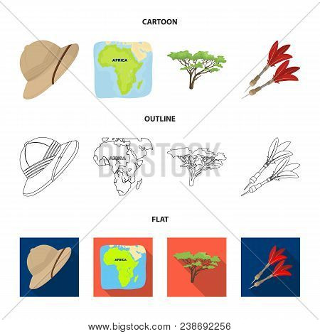 Cork Hat, Darts, Savannah Tree, Territory Map. African Safari Set Collection Icons In Cartoon, Outli