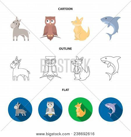 Donkey, Owl, Kangaroo, Shark.animal Set Collection Icons In Cartoon, Outline, Flat Style Vector Symb