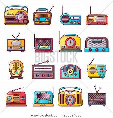 Radio Music Old Device Icons Set. Cartoon Illustration Of 16 Radio Music Old Device Vector Icons For