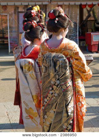 Three Geisha In Kyoto