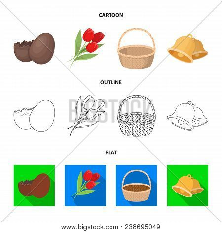 Chocolate Egg, Bells, Basket And Flowers.easter Set Collection Icons In Cartoon, Outline, Flat Style