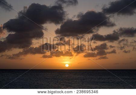Beautiful Sunset Over Eagle Beach Aruba, Caribbean