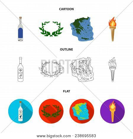 Greece, Country, Tradition, Landmark .greece Set Collection Icons In Cartoon, Outline, Flat Style Ve