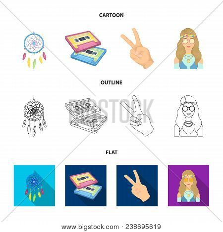 Amulet, Hippie Girl, Freedom Sign, Old Cassette.hippy Set Collection Icons In Cartoon, Outline, Flat